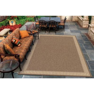 Recife Wicker Stitch Cocoa-Natural 8 ft. x 8 ft. Square Indoor/Outdoor Area Rug