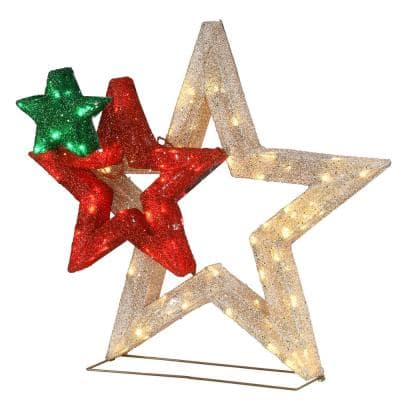 28 in. Pre-Lit Glittered Multi-Stars Decoration with 80 White LED Lights