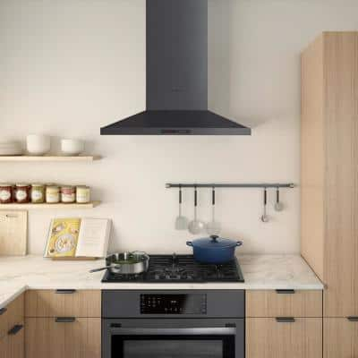 800 Series 36 in. 600 CFM Convertible Wall Mount Range Hood with Light in Black Stainless Steel