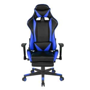 Blue Gaming Chair Reclining Swivel with Lumbar Support & Butterfly Seat Plate