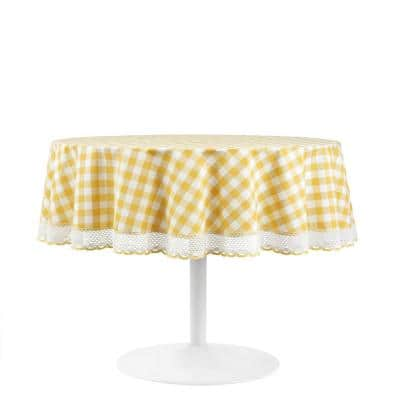 Buffalo Check 70 in. W x 70 in. L Yellow Checkered Polyester/Cotton Round Tablecloth