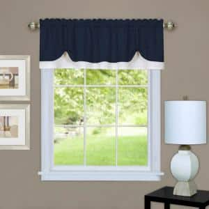 Darcy 14 in. L Polyester Window Curtain Valance in Navy/white