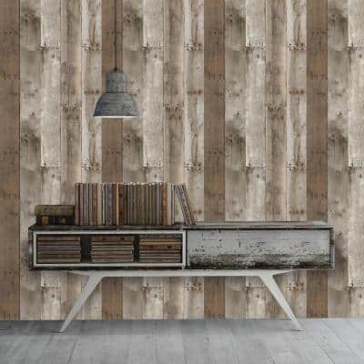 Repurposed Wood Weathered Peel and Stick Wallpaper (Covers 28 sq. ft.)