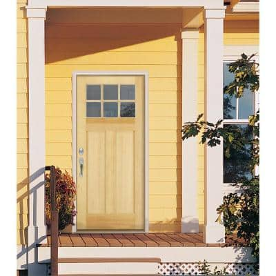 36 in. x 80 in. Craftsman 6-Lite Unfinished Fir Prehung Front Door with Primed White AuraLast Jamb and Brickmould