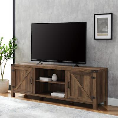 70 in. Rustic Oak Composite TV Stand 75 in. with Doors