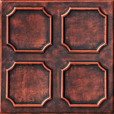 Bostonian 1.6 ft. x 1.6 ft. Glue Up Foam Ceiling Tile in Black Copper