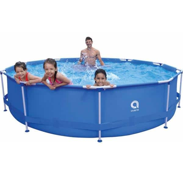 12 Ft Round 30 In Deep Metal Frame Pool Above Ground Swimming Pool Set Tdjw Rc Llh1155 02 The Home Depot