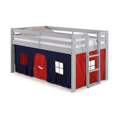 Alaterre Furniture - Jasper Twin Junior Loft Bed, Dove Gray Frame and Blue/Red Playhouse Tent