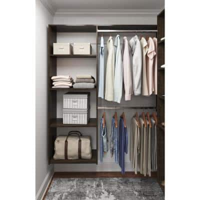 36 in. W - 60 in. W Espresso Wood Closet System