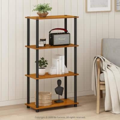 43.25 in. Light Cherry/Black Plastic 4-shelf Etagere Bookcase with Open Back