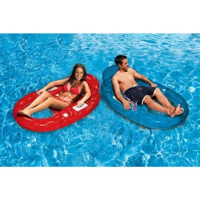 Deluxe Red and Blue Inflatable Oval Floating Swimming Pool Lounge (2-Pack)