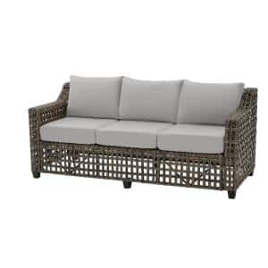 Briar Ridge Brown Wicker Outdoor Patio Sofa with CushionGuard Stone Gray Cushions