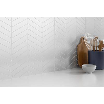 Concept White 8.35 in. x 12.4 in. Chevron Semi-gloss Glass Mosaic Tile (0.719 sq. ft./Each)