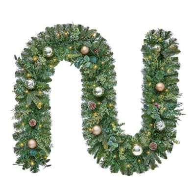 9 ft St. Germain Battery Operated Mixed Pine LED Pre-Lit Artificial Christmas Garland with Timer