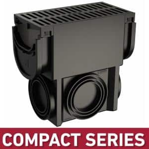 Compact Series Black Slim Drainage Pit and Catch Basin for 3.2 in. Modular Trench and Channel Drain Systems