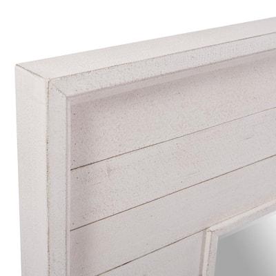 Medium Square White Antiqued Classic Accent Mirror (36 in. H x 36 in. W)