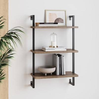 Theo 39 in. Rustic Oak Wood Black Pipe 3-Shelf Floating Shelves Wall Mount Accent Bookcase with Metal Frame