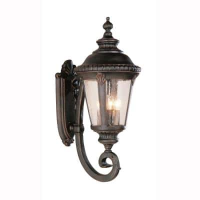 Commons 4-Light Rust Outdoor Wall Lantern Sconce with Seeded Glass