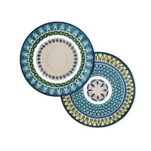 Casale Blu 15 in. Round Multi-Color-Color Print Placemats (Set of 4)