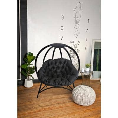 Cozy 4-Legged Metal Outdoor Lounge Chair with Black Cushion in Overland