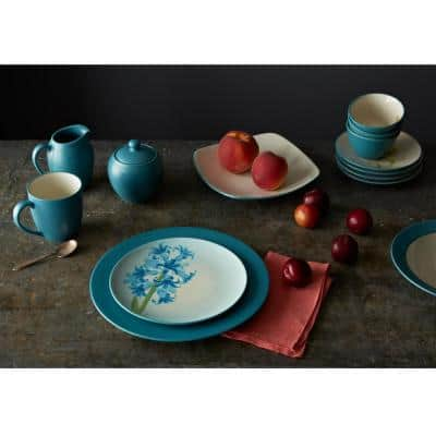 Colorwave Turquoise Stoneware Rim Dinner Plate 11 in.