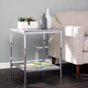 Kimmit Chrome with Gray Faux Concrete End Table