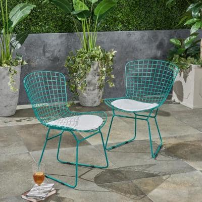 Morgan Teal Stationary Metal Outdoor Dining Chair with White Cushions (2-Pack)