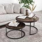 Stella 2-Piece 32 in. Black/Nutmeg Medium Round Wood Coffee Table Set with Nesting Tables
