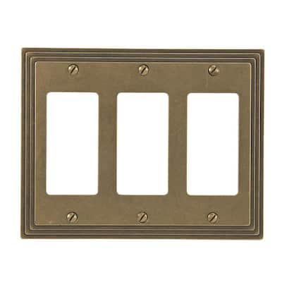 Tiered 3 Gang Rocker Metal Wall Plate - Rustic Brass