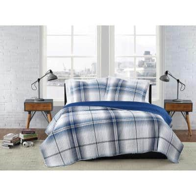 Nolan Houndstooth Stripe White and Black Polyester 3-Piece King Quilt Set