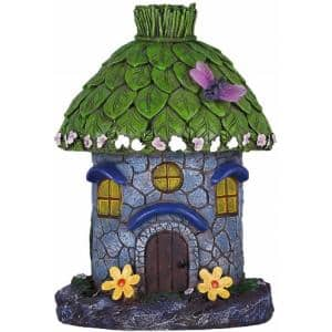 Hunnykome 1 Light 8 In Integrated Led Solar Powered Stone House With Flowers And Ladybug Shs 1g1m Br Ston The Home Depot
