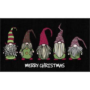 Christmas Gnomes Black 1 ft. 6 in. x 2 ft. 6 in. Holiday Area Rug