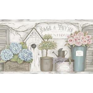 Greenhouse Light Grey Floral Trail Light Grey Wallpaper Border