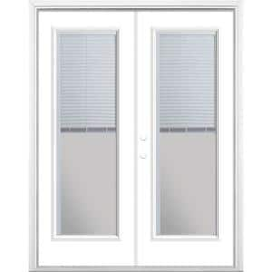 60 in. x 80 in. Ultra White Steel Prehung Right-Hand Inswing Mini Blind Patio Door in Vinyl Frame with Brickmold