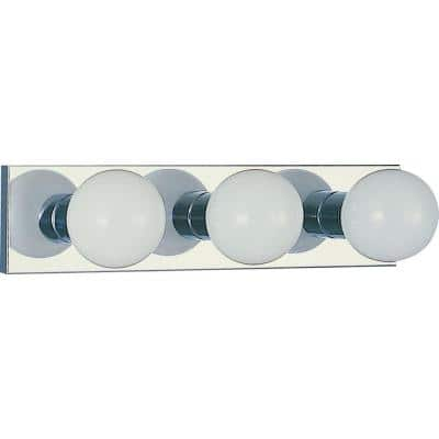 3-Light Indoor Chrome Movie Beauty Makeup Hollywood Bath or Vanity Light Bar Wall Mount or Wall Sconce