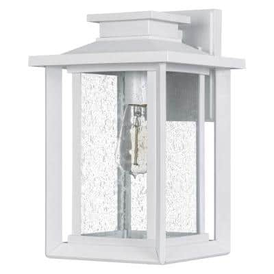 Wakefield 1-Light White Lustre Outdoor Wall Lantern Sconce