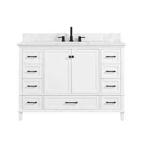 Merryfield 49 in. W x 22 in. D Bath Vanity in White with Marble Vanity Top in Carrara White with White Basin