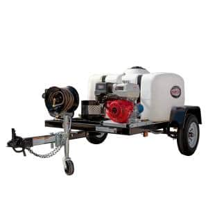 95002 4200 PSI at 4.0 GPM with HONDA GX390 CAT Triplex Plunger Pump Cold Water Professional Gas Pressure Washer Trailer