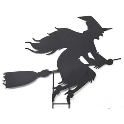 45 in. L Metal Witch on Broom Silhouette Yard Decoration