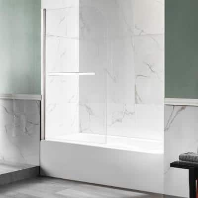 Myth 34 in. W x 58 in. H Frameless Hinged Bathtub Door in Brushed Nickel with Handle