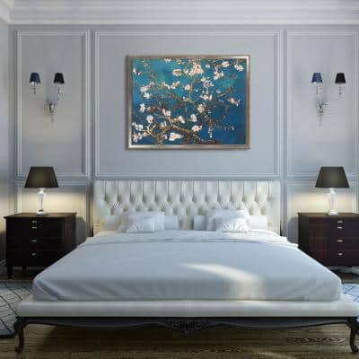 """52 in. x 40 in.""""Branches of an Almond Tree in Blossom with Versailles Silver Salon Frame"""" by Gogh Framed Wall Art"""