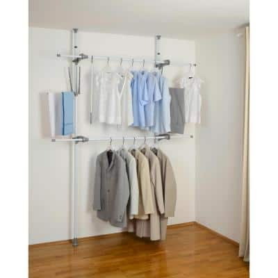 Herkules Flex 14.17 in. D x 45.67-74.80 in. W x 64.96-118.11 in. H White ABS Tension Mount Closet System