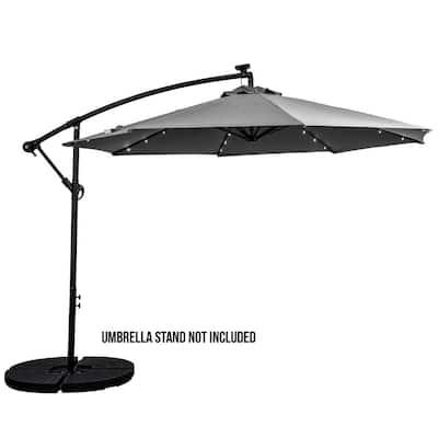 10 ft. Cantilever Aluminum Solar Patio Umbrella Cross Base in Grey