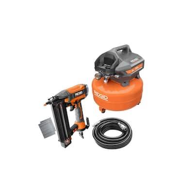 6 Gal. Electric Pancake Air Compressor and Pneumatic 18-Gauge 2-1/8 in. Brad Nailer