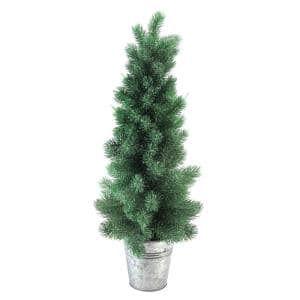 25 in. Iced Mini Pine Artificial Christmas Tree in Galvanized Bucket