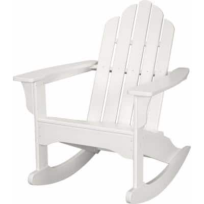 White All-Weather Adirondack Rocking Patio Chair