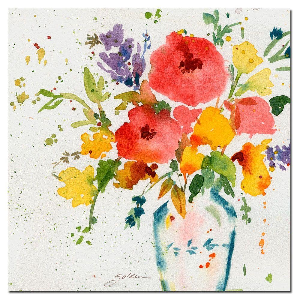 Trademark Fine Art 35 In X 35 In White Vase With Bright Flowers Canvas Art Sg091 C3535gg The Home Depot