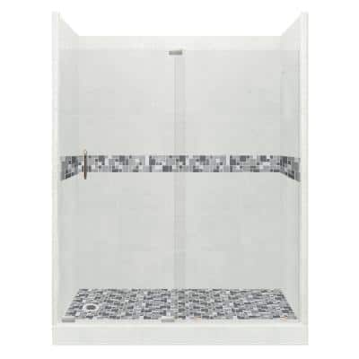 Newport Grand Slider 32 in. x 60 in. x 80 in. Left Drain Alcove Shower Kit in Natural Buff and Satin Nickel Hardware