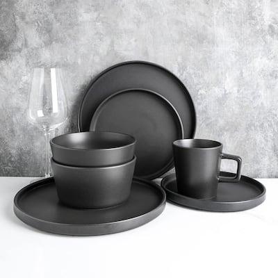 16-Piece Modern Black Matte Stoneware Dinnerware Set (Set for 4)