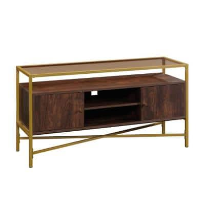 Harper Heights 48.819 in. W Rich Walnut Entertainment Credenza with 2-Doors Fits TV up to 55 in. with Glass Top